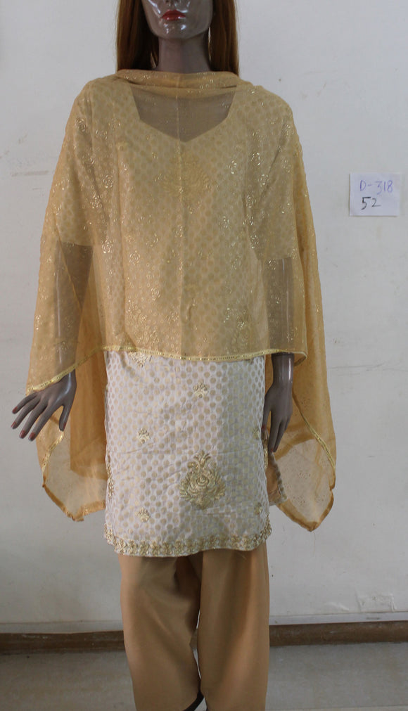 Cream D318 Plus Size 52 Salwar Kameez Indian Clothing Soft Cotton