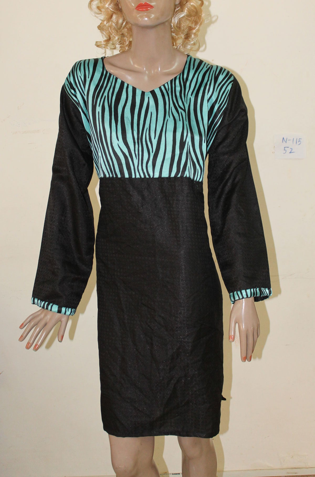 Black N115 Jacquard Indian Clothing Women Kurta Tunic Dress Free Dupatta Plus Size 52