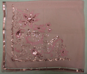 Pink Beaded party Wedding Wear Scarf