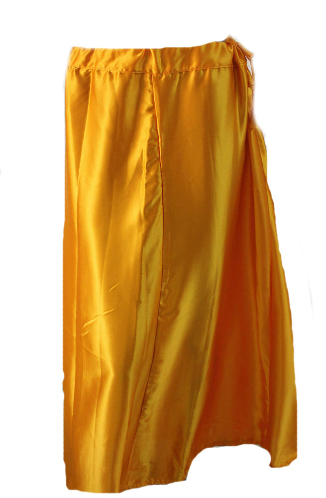 Load image into Gallery viewer, Yellow Luxurious soft satin skirt saree Petticoat Underskirt belly dancing slip