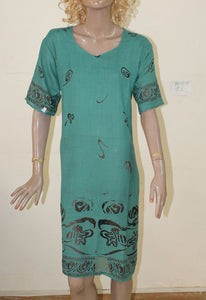 Teal N109 Jacquard Indian Clothing Women Kurta Tunic Dress Free Dupatta Plus Size 52