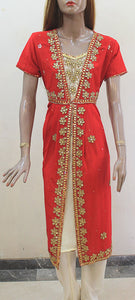 Red and Cream Colored Anarkali Churidar