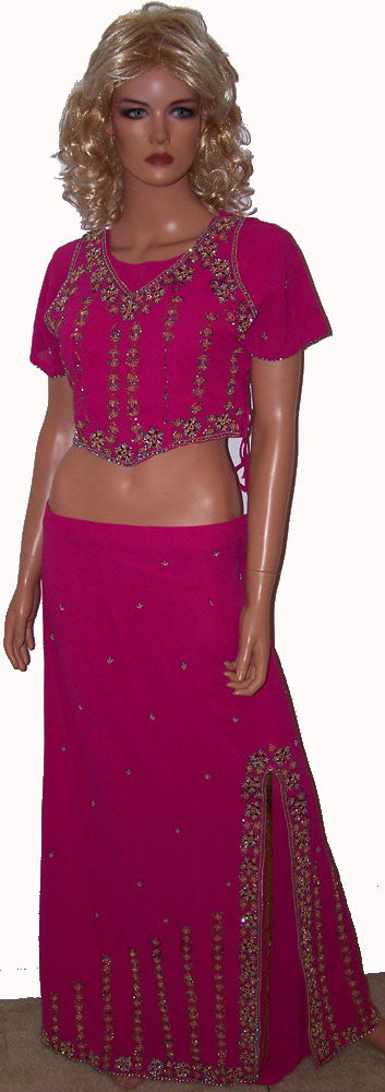 Hot Pink Beaded Long Ladies Kurta Dress Chest Size 40 B114