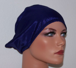 Galore Satin Blue Tie Back Underscarf Cap