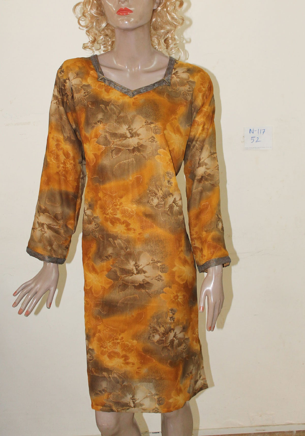 Mustard N117 Chiffon Indian Clothing Women Kurta Tunic Dress Free Dupatta Plus Size 52