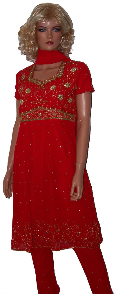 Red Girl Anarkali Churidar  Dress