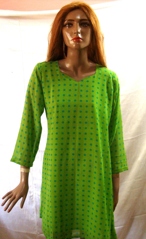 Green Indian Long Kurta