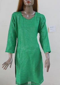 Green N130 Chiffon Indian Clothing Women Kurta Tunic Dress Free Dupatta Chest Size 40