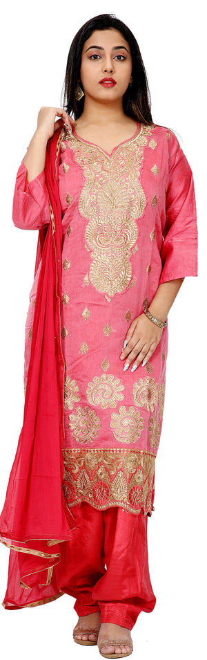 Pink Cotton Silk Salwar kameez Dress Plus Size 52