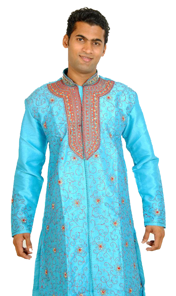 Designer Blue Men's Sherwani with Matching Beads Shawl | Ethnic Blue Men's Sherwani