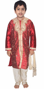 Burgundy Boys Wedding Party Sherwani Set Embroidered Designer Wear Children 3 Pieces Free Shawl