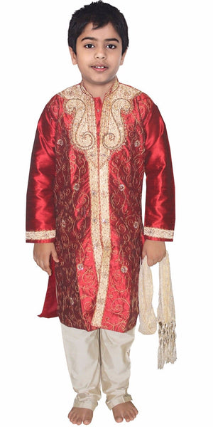 Load image into Gallery viewer, Burgundy Boys Wedding Party Sherwani Set Embroidered Designer Wear Children 3 Pieces Free Shawl