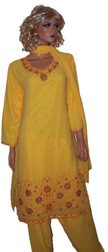 Yellow Crepe Salwar kameez Dress Chest size 42
