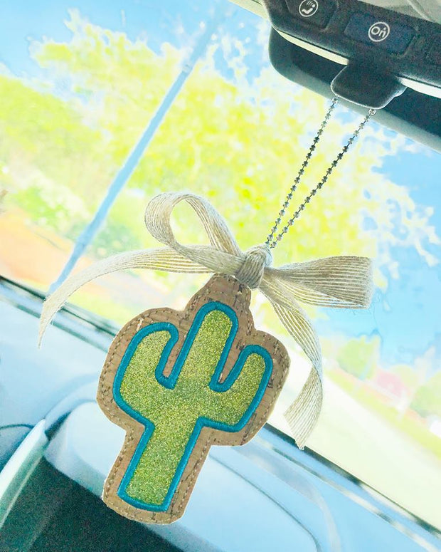 Cactus Applique Rear View Mirror Hanger