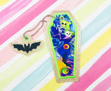 Coffin Bookmark Applique- 5x7 or larger hoop and Bat Zipper Pull