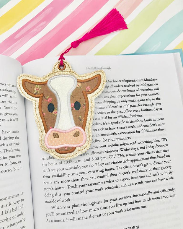 Cow Applique Bookmark Ornament