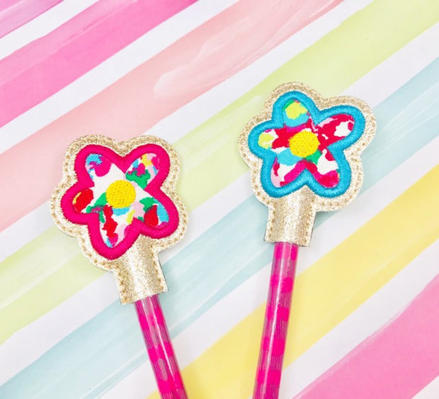 Flower Applique Pencil Topper