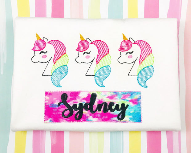 Sketchy Unicorn Trio Embroidery Design