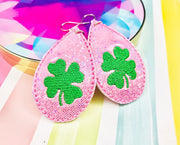 Sketchy Clover Snap Tab and Earrings Set