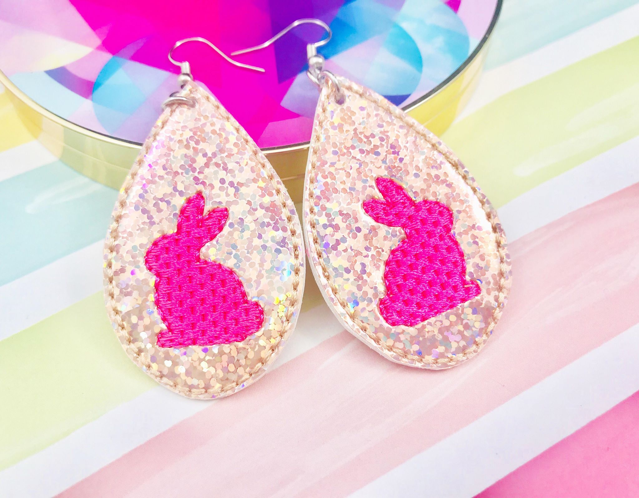 Bunny Earrings - ITH Embroidery Earrings
