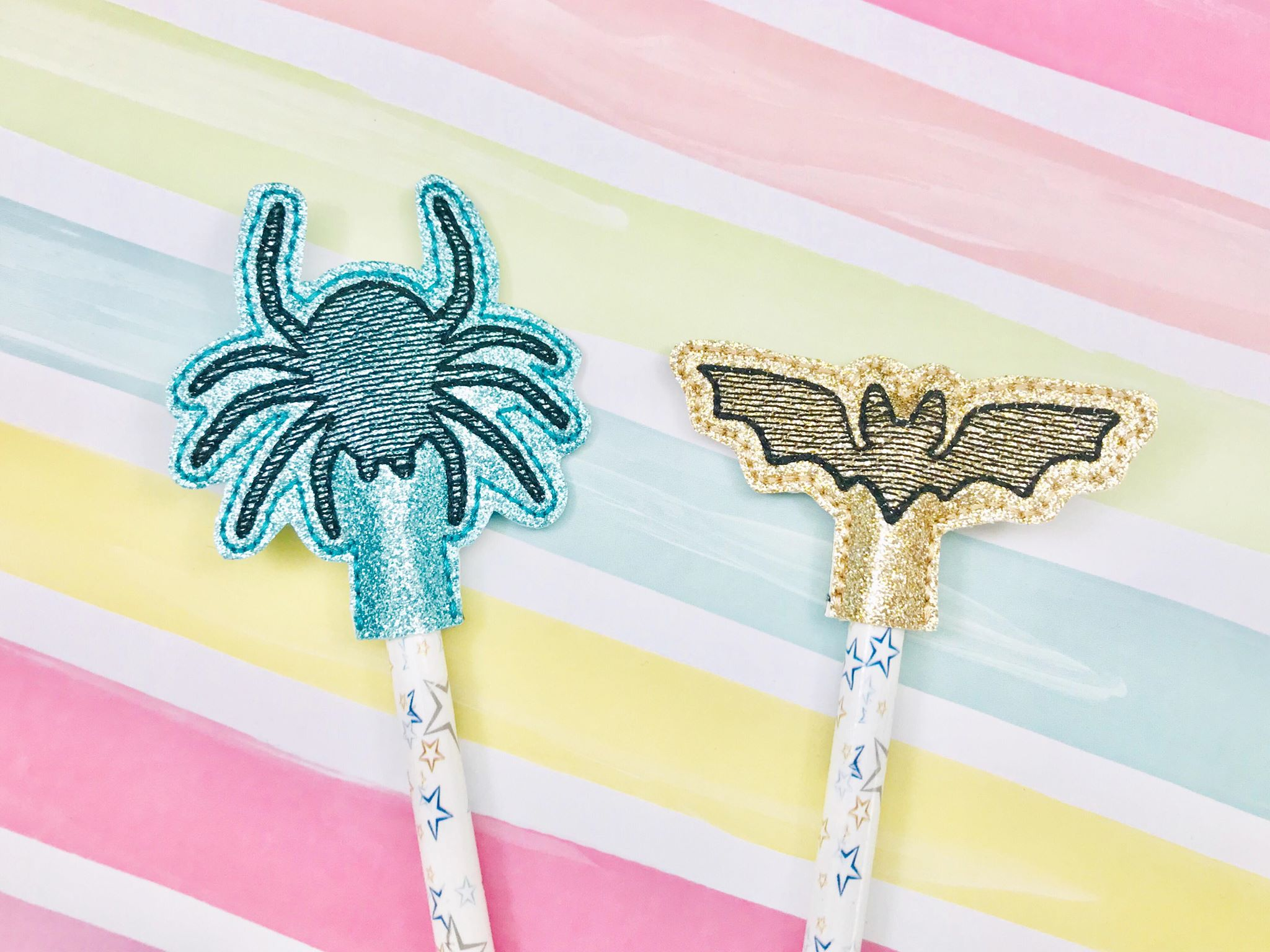 Bat and Spider Pencil Toppers