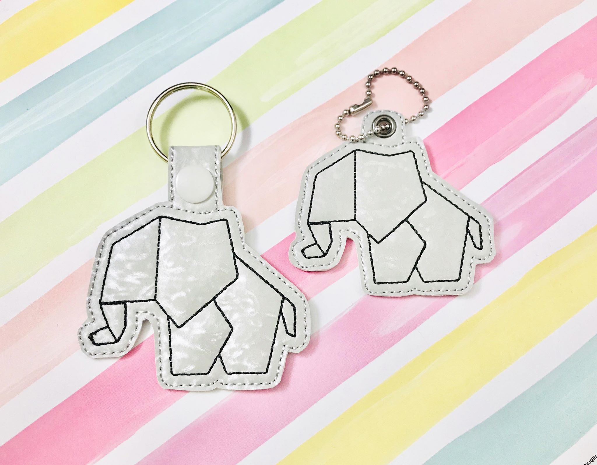 Elephant Origami Snap Tab/ Zipper Pull Set