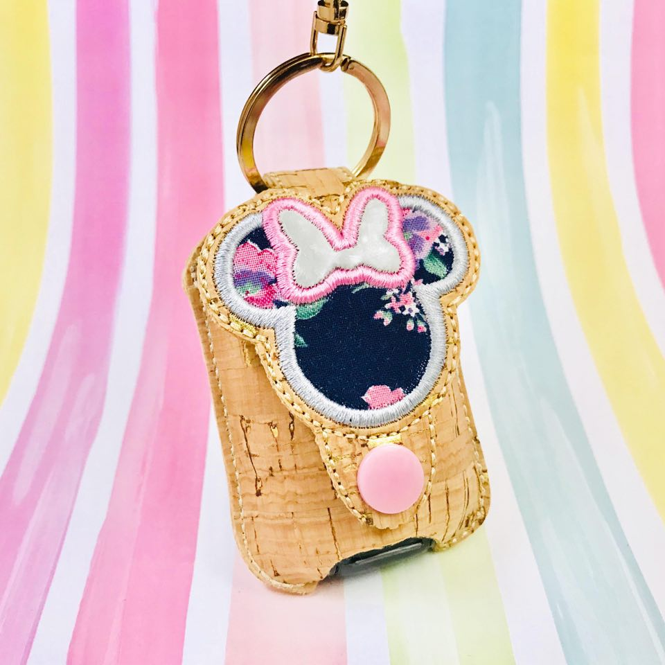 Bow Mouse Applique Sanitizer Holder- Read Description