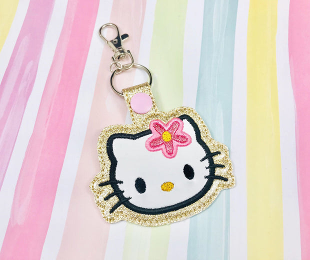 H Kitty Applique Snap Tab