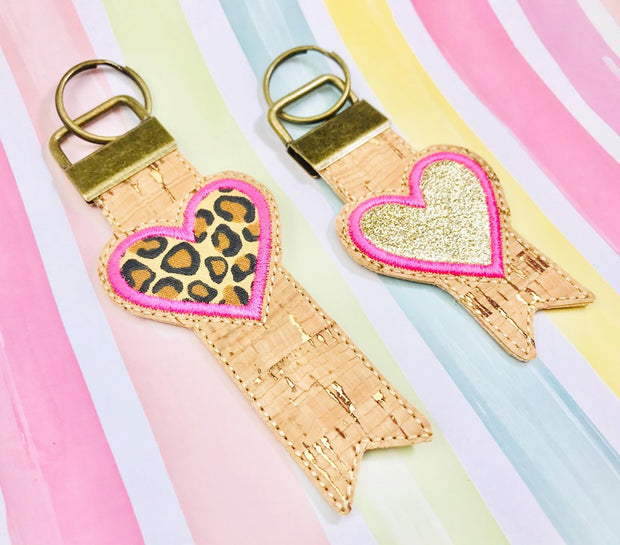 Heart Applique 1 Inch Keyfob - Read Description