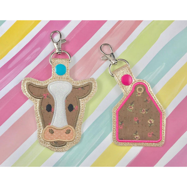 Cow Applique Set Snap Tab Set