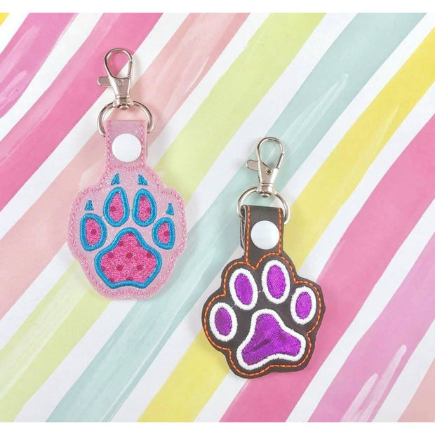 Paw Print  Applique Snap Tab