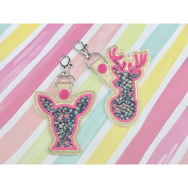Deer Applique Set Snap Tab Set