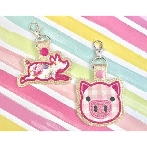 Pig Applique Snap Tab Set