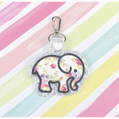 Elephant Applique Snap Tab