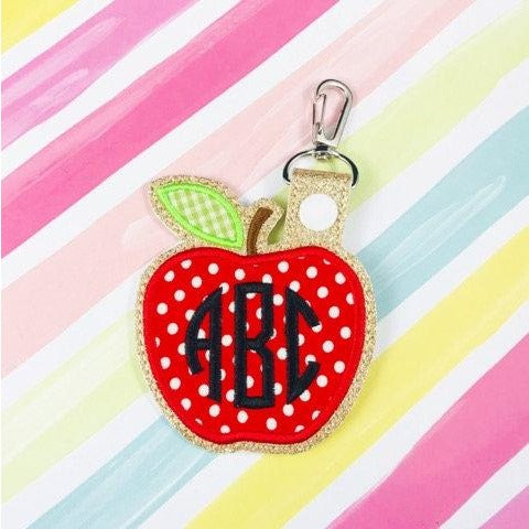 Large Apple Applique Snap Tab
