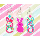 Bunny Rabbit Applique Snap Tab Set