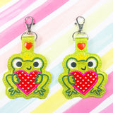 Valentine Frog Applique Snap Tab Set