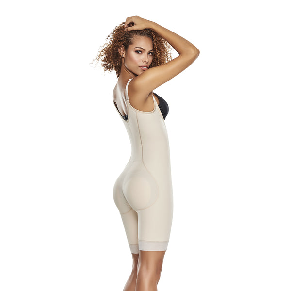 hourglass figure slimmer & firm control open bust bodysuit with removable pads in nude color 2