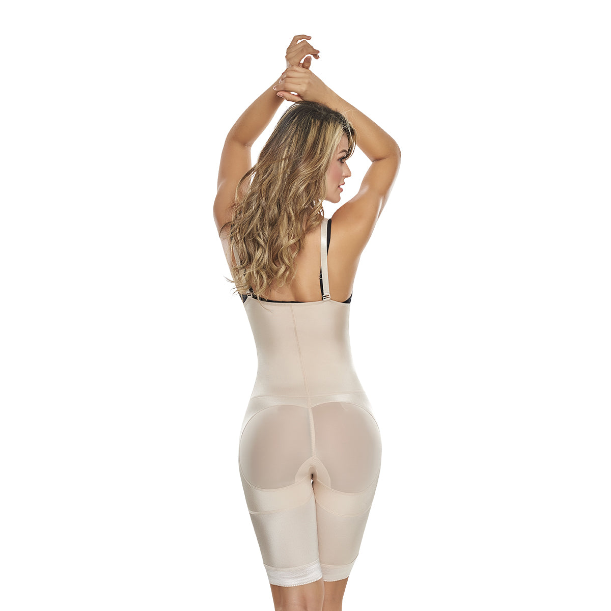 hourglass figure power slimmed mid thigh body shaper in nude color 1