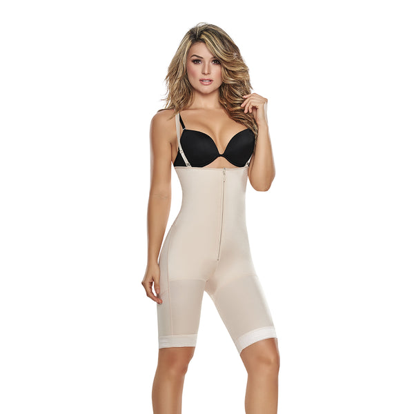 hourglass figure power slimmed mid thigh body shaper in nude color 3