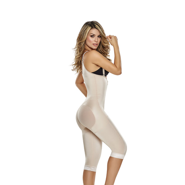 hourglass figure slimming braless body shaper with thigh slimmer in nude color 2