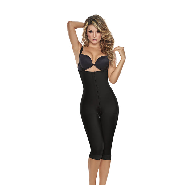 hourglass figure slimming braless body shaper with thigh slimmer black 1