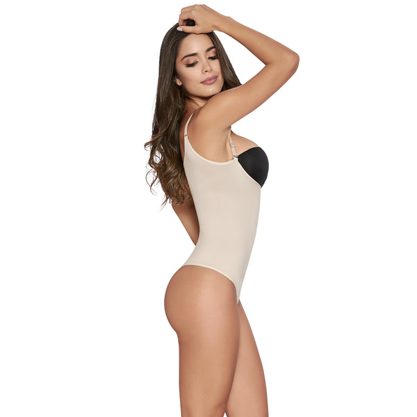 hourglass figure slimming romper in nude color 3