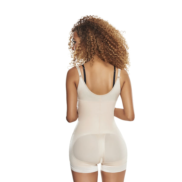 hourglass figure slimming braless body shaper girdle in boy short in nude color 3