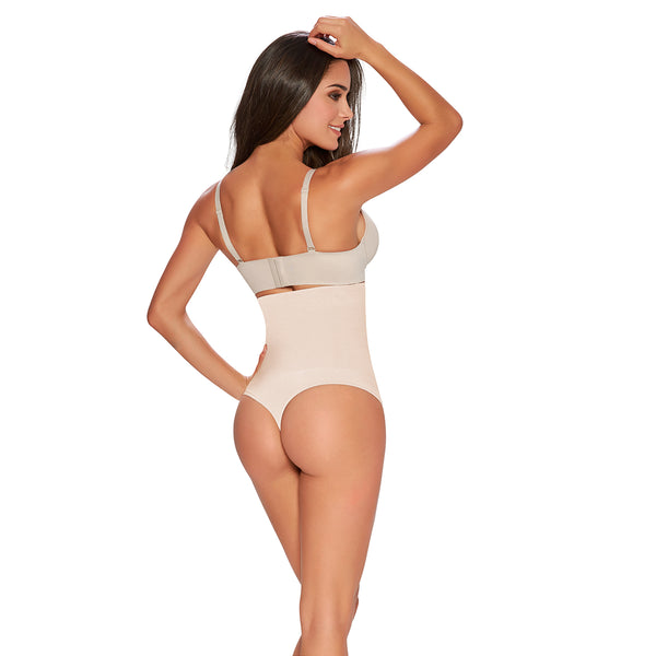 hourglass figure thong firm control hi waist cincher in nude color 2