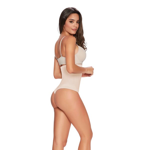 hourglass figure thong firm control hi waist cincher in nude color 3