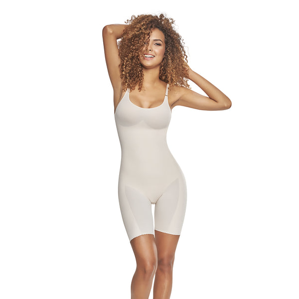 hourglass figure mid thigh bodysuit shaper short with booty lifter nude color 1