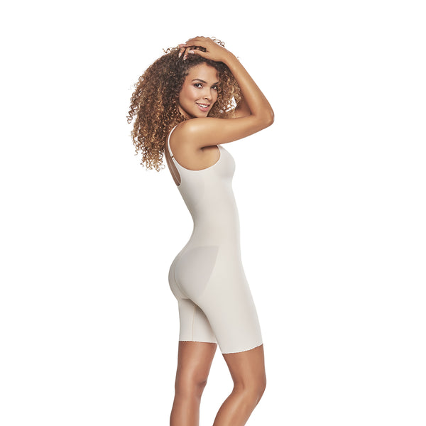 hourglass figure mid thigh bodysuit shaper short with booty lifter nude color 2