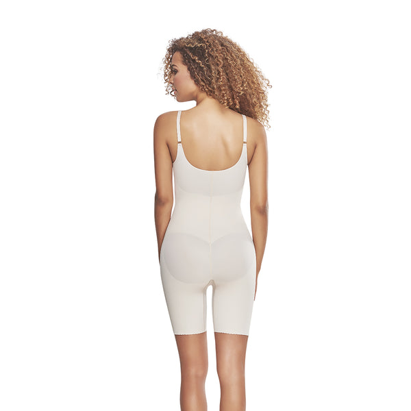 hourglass figure mid thigh bodysuit shaper short with booty lifter nude color 3
