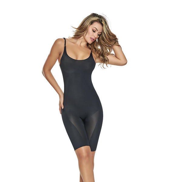hourglass figure mid thigh bodysuit shaper short with booty lifter black 1